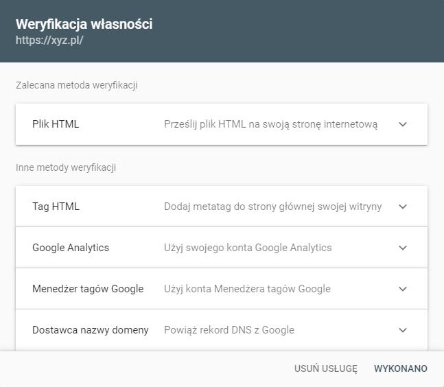 Weryfikacja własności w Google Search Console
