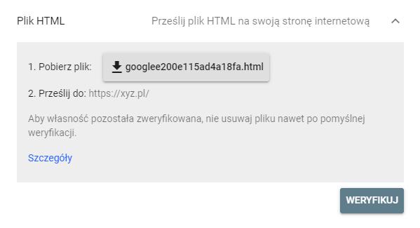 Weryfikacja za pomocą Pliku HTML