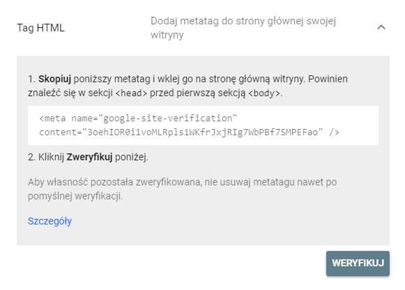 Weryfikacja za pomocą TAGu HTML