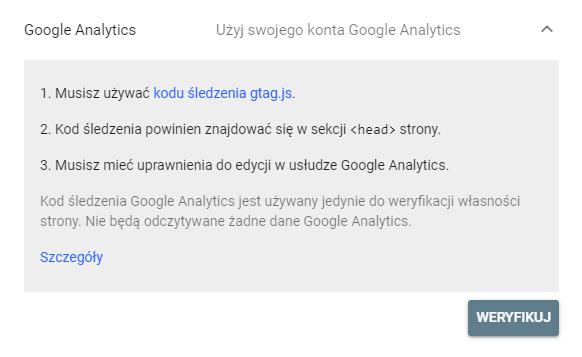Weryfikacja za pomocą Google Analytics