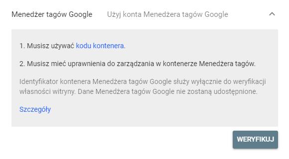 Weryfikacja za pomocą Menedżera Tagów Google