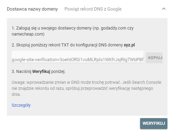 Weryfikacja za pomocą Dostawcy nazwy domen