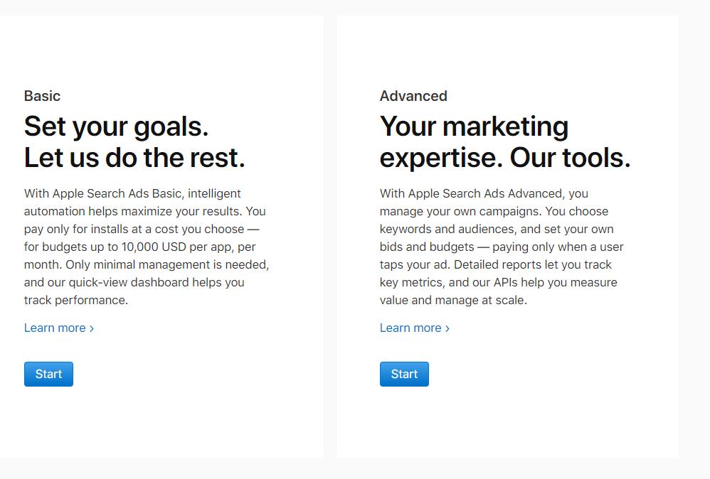 Apple Search Ads - Basic i Advanced