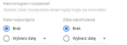 Harmonogram rozszerzeń Google Ads