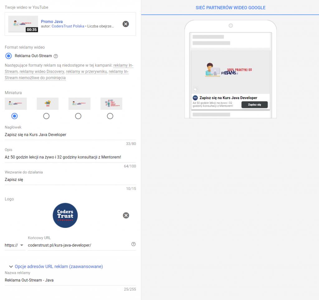 Tworzenie reklamy OutStream