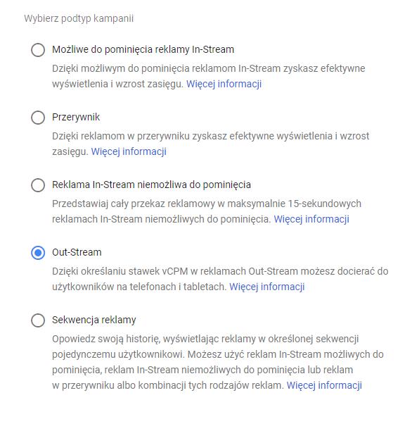Wybór podtypu kampanii przy tworzeniu OutStream