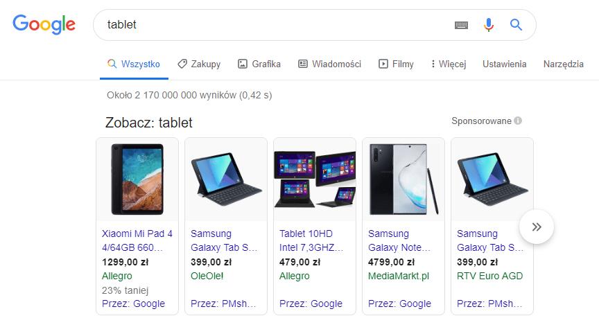 Reklamy produktowe w Google Shopping