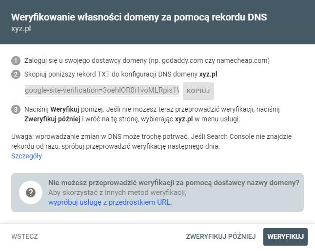 Weryfikowanie własności domeny za pomocą rekordu DNS