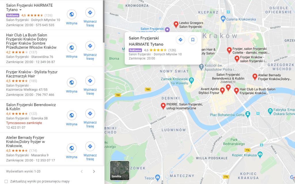 Reklama w Google Maps